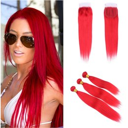 El pelo humano peruano de la Virgen teje con cierre de encaje Extensiones de cabello liso y sedoso rojo con cierre de encaje 4x4 Parte libre Paquetes de trama roja desde fabricantes