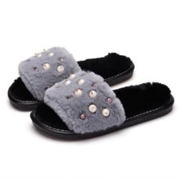 7b3b144e23a1 Women Shoes Pearl 2019 New Winter Home Cute Cotton Slippers Female Plush  Women Slippers Open Hair