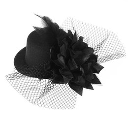 clip di cappelli superiori del partito Sconti Vintage Feather Flower Elegante Top a forma di cappello Accessori per capelli Clip per matrimonio Prom Fotografia Dancing Party