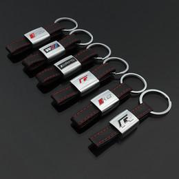 R catene chiave online-2 pezzi di cuoio mentale marchio dell'automobile portachiavi dell'anello chiave di Keychain supporto della catena chiave Keyfob Per Volkswagen R Audi Sline BMW M Car Styling Accessori