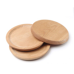 wood plates Coupons - Wooden Plate Dessert Beech Plate Dish Dish Square Fruits Platter Dish Tea Server Round Tray Wood Cup Holder Bowl Pad Tableware BC BH1575