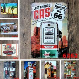 Segni di cucina vintage online-20 * 30cm Gas Route Ferro 66 Vintage Craft Tin Sign Retro Metal Home Ristorante KTV Kitchen Bar Pub Signs Wall Art Sticker 9 Stile