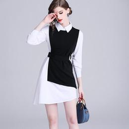 maglia bianca della camicia da letto Sconti 2019 primavera nuove donne OL ragazze commute moda abito camicia irregolare bianco + mini vestito maglia nera a due pezzi