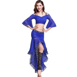 Кружева Bellydance костюм сексуальный танец живота набор для женщин расклешенные рукава цыганская практика танцы наряды экзотические танцевальная одежда DC1284 от