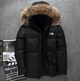 Parka d'hiver en Ligne-Nouveau The North Vêtements d'homme Vestes d'hiver Parka au chaud en duvet d'oie Manteaux col fourrure douce Des chapeaux épais vêtements d'extérieur Vestes faciales