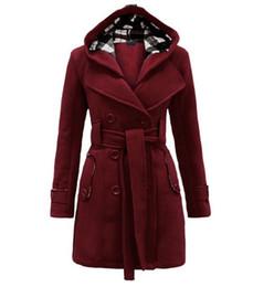2019 cucitura di maglione di lana Le donne inverno incappucciato del maglione di modo cappotto doppiopetto giacca cardigan cucitura lungo di lana cappotti con cintura Abbigliamento cucitura di maglione di lana economici
