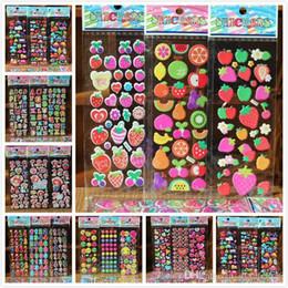 Niños puffy pegatinas online-55 hojas / porción de 3D hinchadas burbuja etiquetas mixtas coches de la historieta de Waterpoof bricolaje para niños Niños Niño Niña juega para los niños