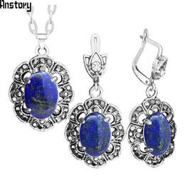 juegos de joyas de lapislázuli Rebajas Natural Stone Lapis Lazuli Pendientes collar de la joyería de la joyería del Rhinestone Fashion Look de la vendimia para las mujeres TS420