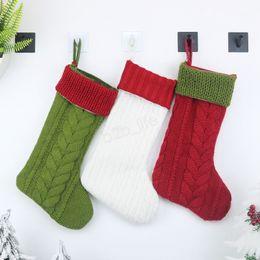 Ornements tricotés en Ligne-Fête de Noël Stocking Chaussettes Suspendues Tricoté Arbre Ornement Décor Chaussettes Cadeau Sac De Bonbons Nouvel An Prop Xmas laine Chaussettes LJJA3008