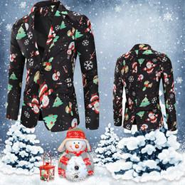 2019 herren weihnachtsjacke Casual Herren-Blazer-Jacken Weihnachten Blazer Männer Snowmen Süßigkeit Printed Blazer Männer Anzüge Casual Outwear Mantel Winterjacke Gh4 günstig herren weihnachtsjacke