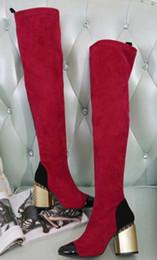 licht tan stiefel frauen Rabatt Heißer Verkauf- Frauen schwarz Licht Tan Stretch Veloursleder Goldketten Trim klobig hohe Heel Patent Kappe Zehe Oberschenkel-hoch über den Knie Stiefel mit Reißverschluss