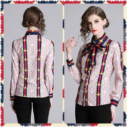 lindos topos impressos Desconto Novo Estilo de Moda de Luxo das Mulheres Estampa Floral Primavera Queda Blusas Camisas Bonito Elegante Senhora do Escritório Sexy Magro Estilo de Rua Camisas Tops