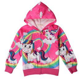 Chicas con capucha con cremallera online-Zip Hoodie Girls Unicorn Chaqueta de algodón de manga larga Pink Rainbow Print Baby Girl Outfit 2018 Otoño Ropa para niños Abrigos para niños