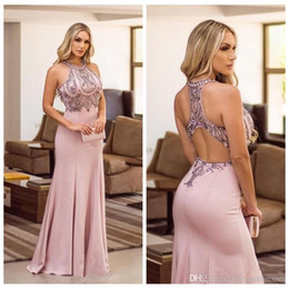 silver rhinestone prom dress halter Coupons - Dubai Arabic Style Sexy Mermaid Prom Dresses Sexy Criss Cross Back Beaded Rhinestone Formal Evening Party Gowns Abendkleider vestidos