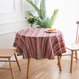round tablecloths cotton Coupons - Table cloth Round Cotton and Linen Tablecloth Fabric Home Small Fresh Printed Tablecloth Round Table Free Shipping