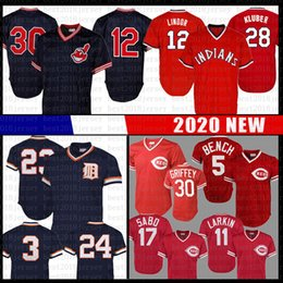 Johnny Bench Uomo Jersey Barry Larkin Sabo Ken Griffey Jr 12 Francisco Lindor Kluber Joe Carter Kirk Gibson Miguel Cabrera Alan Trammell XW da jersey jersey di francisco fornitori