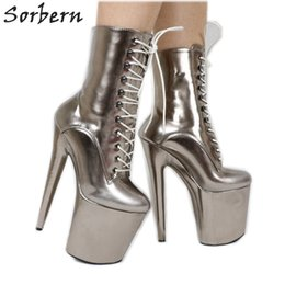 pole dancers Coupons - Grey Metallic Women Pole Dance 20cm 8 inch Extreme Heels Devious Shoes Exotic Dancer Heels Boot Females Custom Color