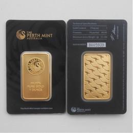 Colección de ropa online-Australia The Perth Mint 1 Onza Gold Bullion Clad Bar Fine Gold 999.9 Colección de monedas de recuerdo de réplica - Black Perth Mint Bar con baño de oro