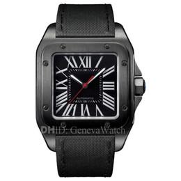 2019 квадратные часы кожаные мужские 38 мм Дизайнерские Часы Santo Square Black Steel Швейцарский Импорт Кварцевый Механизм Роскошные Мужские Часы Коровья Кожаный Ремешок модные мужские часы дешево квадратные часы кожаные мужские