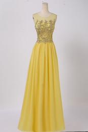 Elegantes vestidos largos de dama de honor de gasa con apliques dorados Burdeos Vestido de dama de honor Vestidos de dama de honor amarillos desde fabricantes