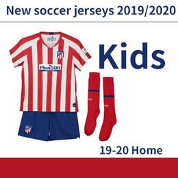 Jogo de crianças 19 20 JOAO FELIX Atlético de Madrid em casa Camisa de futebol 2019 2020 Morata de futebol da criança maillot de futebol camisa de