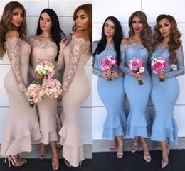 a4d612a1 Dusty Pink Lace Off hombro sirena vestido de dama de honor Sexy hasta el  tobillo vaina de boda vestido de invitado africano baile de fiesta vestidos  de ...