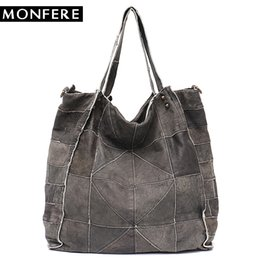 98c52043b0a 2019 Fashion MONFERE Vintage Leather Women Big Tote Bags Real Leather  Messenger Shoulder Bags Female Large Quilted Woman Bag Genuine Leather