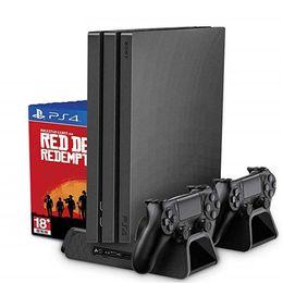 Coole ladegeräte online-PS4 / PS4 Slim / PS4 PRO Vertikaler Ständer mit Lüfter Kühler Dual Controller Ladegerät Ladestation für SONY Playstation 4