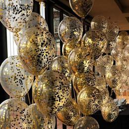 Confetti baby online-10pcs palloncini trasparenti palloncini stagnola oro coriandoli trasparenti buon compleanno baby shower matrimonio decorazioni in oro rosa SH190723