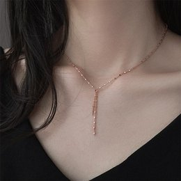 2019 Simple lunga catena collana lariat 925 Sterling fascino quadrato nappa ay monili donne delicate minima da collana minima fornitori
