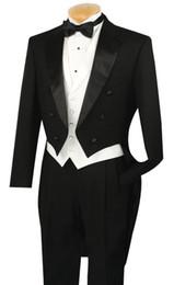 Cappotti di cappotto online-Fit Slim 3Pcs Nero Risvolto Groom Mens Abiti Con Tail Coat formale Partito Custom Made Smoking da sposa di alta qualità