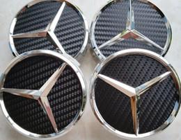 tappi centro della ruota in fibra di carbonio Sconti Centro emblema ruota 20 pezzi, coprimozzo, per MERCEDES Benz, fibra di carbonio, nero, 75mm