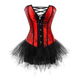 2019 robes burlesques grande taille corsets et bustiers burlesque corset et jupe tutu en dentelle lingerie corset robe robes gothiques fête plus la taille mode sexy robes burlesques grande taille pas cher
