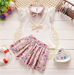 804bcc38f334 good quality baby girl Clothes kids girls clothing sets summer flower  collar pure color vest+flower short skirt Set Kids Costume set
