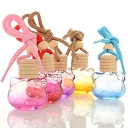 óleo de fragrância para difusor Desconto Mini Tamanho 8 ml Carro Pendurado Perfume Pingente Perfume Refrogerador de ar Garrafa De Vidro Vazia Para Óleos Essenciais Difusor Automóveis Ornamento Presente
