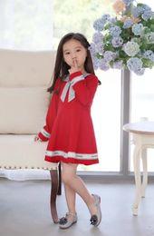 petali di fiori di autunno Sconti abiti firmati per bambini Girl Long Sleeves Lattice Dress Bambini Pure Cotton Skirt Baby Fashion Child's Skirt0111-13