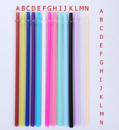 Cannucce da bere in plastica online-Coppa 14colors PP Plastica Straw riutilizzabili di plastica Cannucce Cocktail Lounge Wedding Birthday Party Bar paglia 20OZ auto Cannucce GGA3531