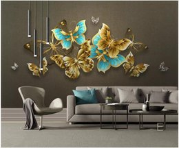 textile butterflies Promo Codes - WDBH 3d wallpaper custom photo Hand painted light luxury colorful butterfly tv background Home decor 3d wall murals wallpaper for walls 3 d