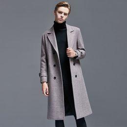 Autumn & Winter England Wool Duffle Coat Men s Mid length Slim Fit Double Breasted Herringbone Business Men Woolen Jacket 6XL