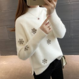 Pullover di visone online-Dolcevita maglioni delle donne di modo di inverno caldo di spessore Faux visone Cashmere Pullover Maglione casuale femminile Knit Jumper Tops W1354