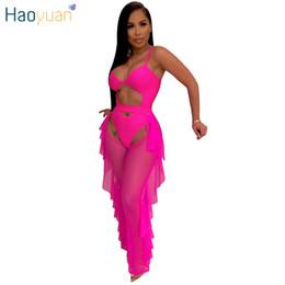 calças do festival Desconto HAOYUAN Neon Verde Sexy 2 Peça Conjuntos Combinando Mulheres Roupas Festival Macacão Bodysuit e Sheer Mesh Pants Beach Club Outfits