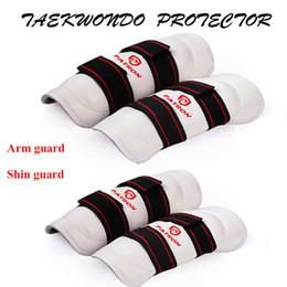 4 PCS / Ensemble PU Taekwondo Protecteur Bras Shin Garde Jambe Manches WTF ITF Muay Thai Kick Boxe Judo Wesing Karaté Équipement Guêtres D'enfant ? partir de fabricateur