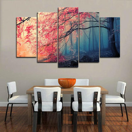 art canvas red tree painting Coupons - Framed 5Pcs Cherry Blossom Flower Red Trees Forest Painting Wall Art HD Print Canvas Painting Fashion Hanging Pictures for Living Room