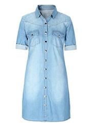 donne della camicia del denim del cotone Sconti Gonna a trapezio in abito di cotone con camicia in denim con bottoni in cotone alla moda