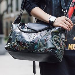 Handgemalte taschentaschen online-Prägung Handgemalte Hobos Taschen Für Frauen Aus Echtem Leder Handtasche Echte Kuh Leder Tote Weiblichen Beiläufigen Schulter Messenger Bags # 227524