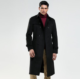 мужская весенняя длинная шерсть Скидка Весна осень шерстяное пальто мужчины тренчи с длинными рукавами пальто Мужские кашемировые пальто casaco masculino inverno эркек Англия черный