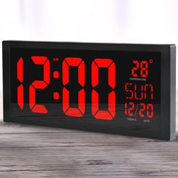 2019 specchi resistenti all'acqua Orologi Orologi da parete Grande schermo grande Desktop elettronico da parete LED Calendario digitale Termometro orologio Ora legale per orologio da cucina murale