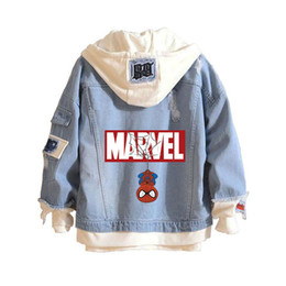 2019 abrigos de araña Marvel Comics Spider man Casual Hoodies Unisex Cowboy Fake Two Pieces Sudadera Hole Denim Jacket Coats rebajas abrigos de araña