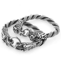 drago tigre Sconti Nuovi bracciali a maglie in acciaio inossidabile con testa di drago / tigre Braccialetti a maglie Dubai lucidati per uomo Regali di gioielli fantastici