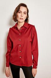 Ossa del pulsante online-Camicia Trendyol Bordeaux Bone Button TOFSS19XB0025